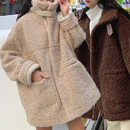 ボアブルゾン 韓国 ファッション レディース ビッグシルエット もこもこ ジップアップ ボアジャケット 両サイドポケット ブラウン アプリコット (DCT-580939845806)