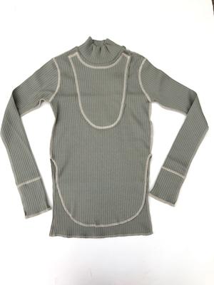 【21AW】GRIS ( グリ )Rib Mock Neck Shirt[XL]Sage Green 長袖カットソー
