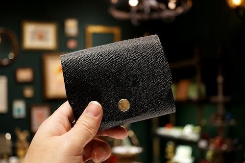 身軽にキメたい時のコンパクト財布|ぷっくり型/パーティーレザー・ブラック(本革製)