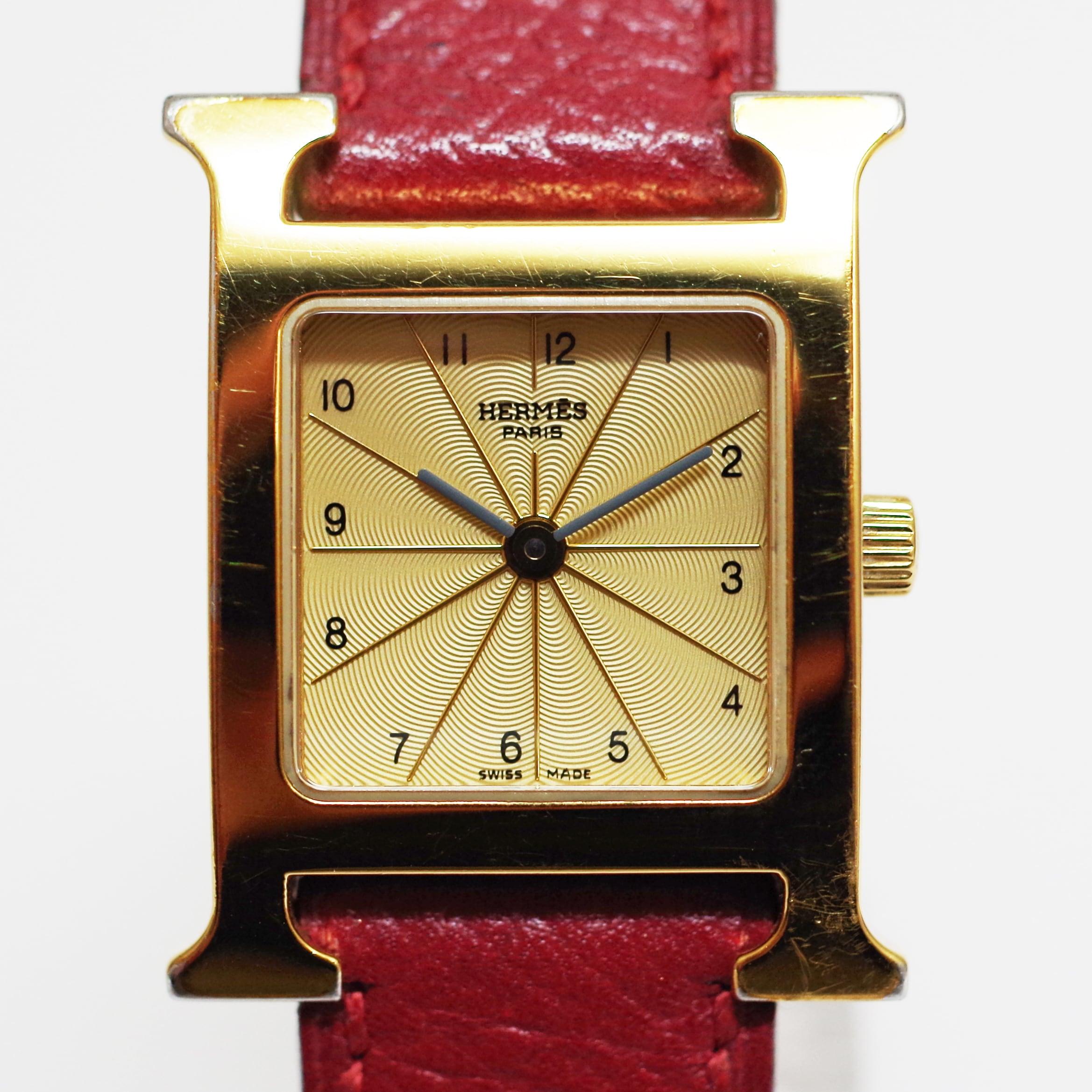 HERMES エルメス PM HH1.201 Hウォッチ SS クォーツ ゴールド 革ベルト 腕時計 レディース