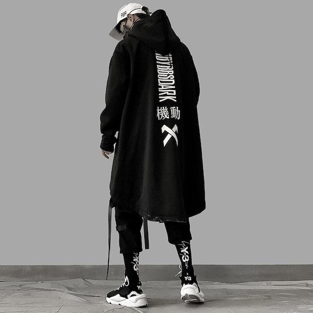 【吉業重工シリーズ】★ロングコート★アウター 男女兼用 メンズ カップル服 オーバーサイズ M L LL ブラック 黒い