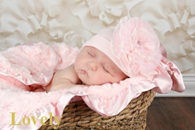 817【JamieRaeHats ジェイミーレイハット】ペールピンク/ペールピンク レースローズ USAサイズ18ヶ月~3歳