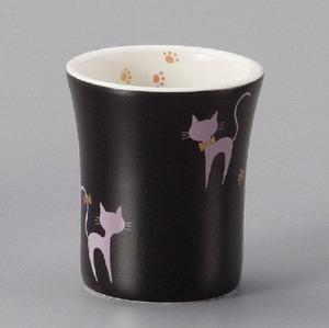 湯呑 猫 常滑焼 黒