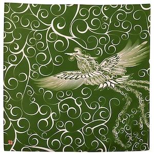 火の鳥×唐草 ラインアート 木綿 小風呂敷(約50cm角)【日本製】