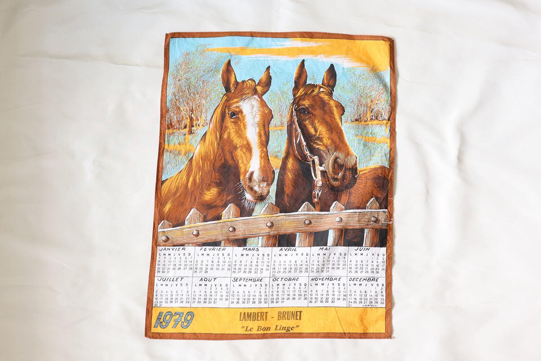 【フランス】2頭の馬のカレンダー / 1979年