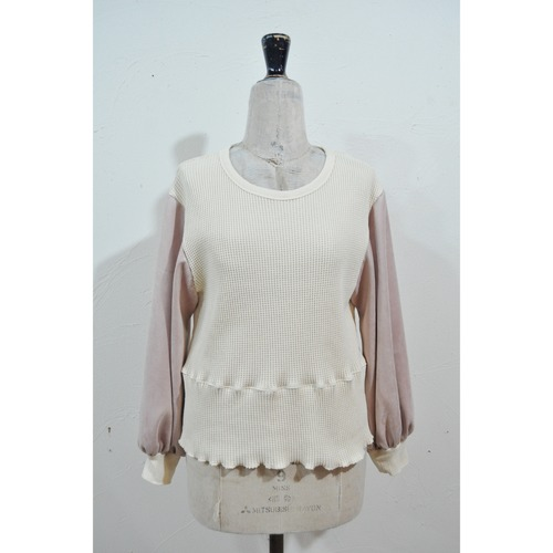 【RehersalL】 puff sleeve suede thermal tops(pink) /【リハーズオール】パフスリーブ スエードサーマルトップス(ピンク)