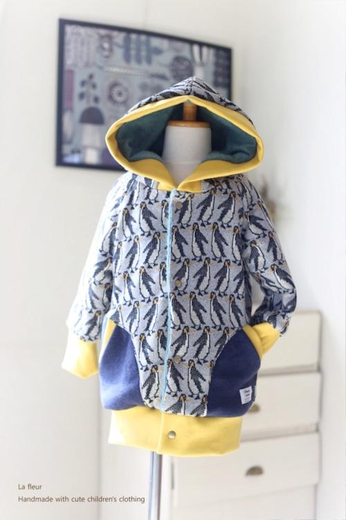 【100】ロングブルゾン・フード付ロングコート*ペンギン グレー 裏地付き/Lafleur