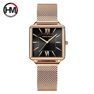 日本クォーツムーダイヤルローマ広場の時計ケースstanless鋼ファッション腕時計レディースローズゴールドは、女性の1082HWFF
