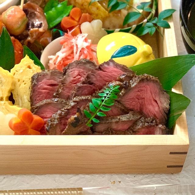 和牛もも肉の塩麹しょうが焼きローストビーフ仕立て