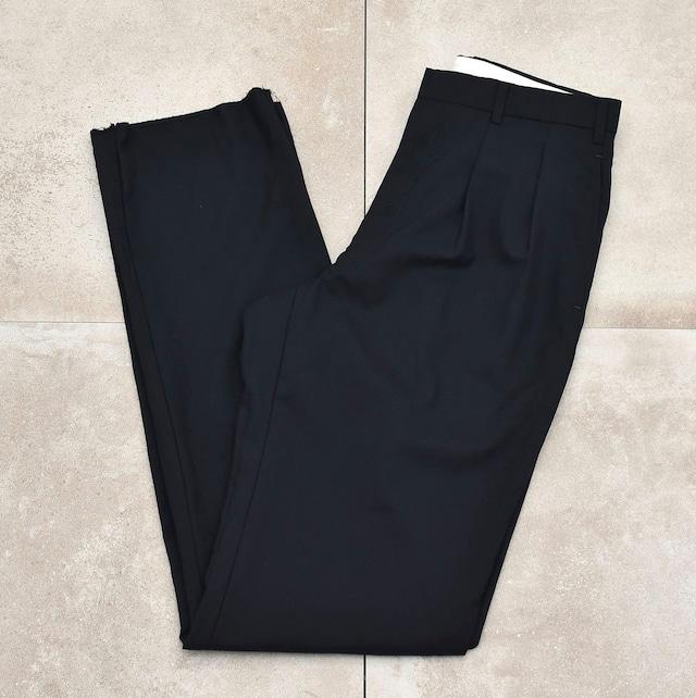 CHAPS 2tuck black color wool slacks