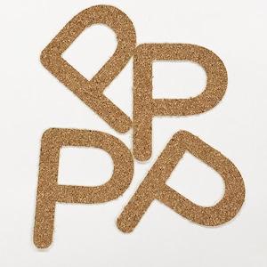 切り文字 A&Cペーパー コルク 粘着付 アルファベット「P」