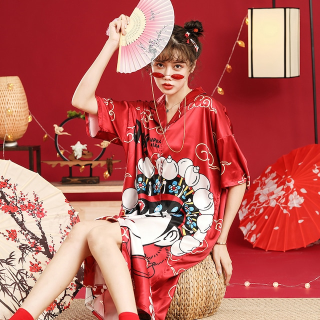 【夢鸞シリーズ】★チャイナ風パジャマ★ 4color ワンピース ルームウェア 部屋着 M L LL 3L 可愛い ゆったり