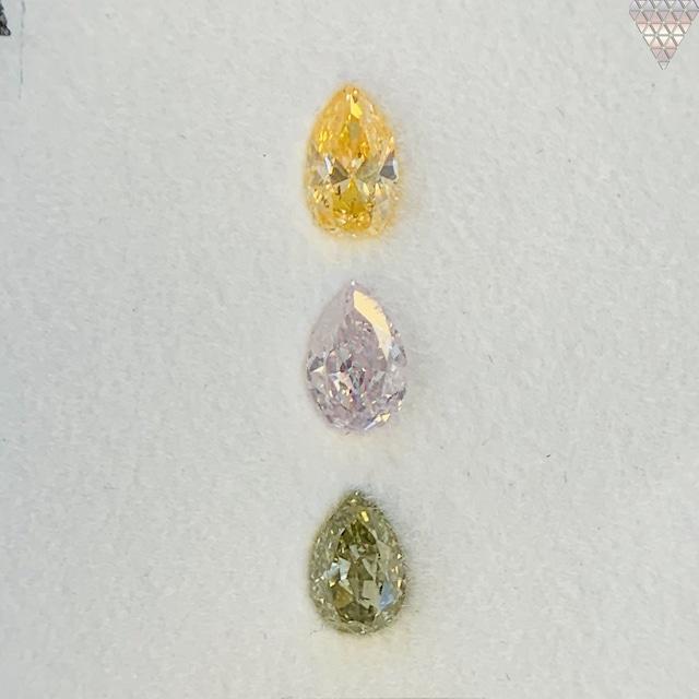 合計  0.63 ct 天然 カラー ダイヤモンド 3 ピース GIA  3 点 付 マルチスタイル / カラー FANCY DIAMOND 【DEF GIA MULTI】