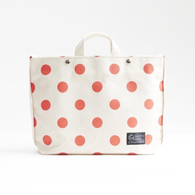 shoulder tote bag/vermilion × polka dot ショルダートート/ 朱 x 水玉