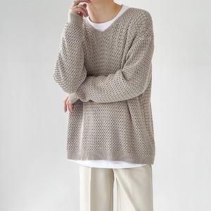 Reticulated jacquard waffle sweater   b-513