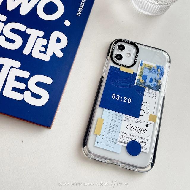 ブルーステッカークリアiPhoneケース S4437