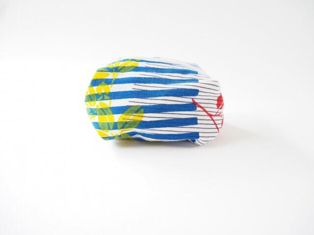 ケイコロール  ポーチ Mサイズ 「青の縞と赤と黄のハギ」