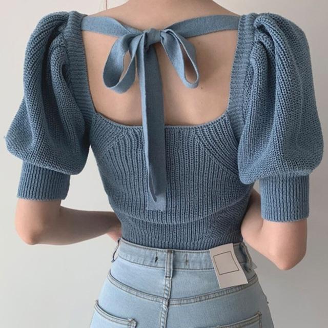 バックリボン五分袖セーター 【200916】