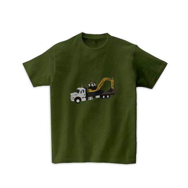車Tシャツ-フラットベッドトラックとショベルカー
