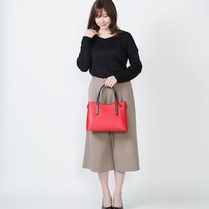 【イタリア製 】 2WAY ハンドバッグ ショルダー 本革 赤&黒