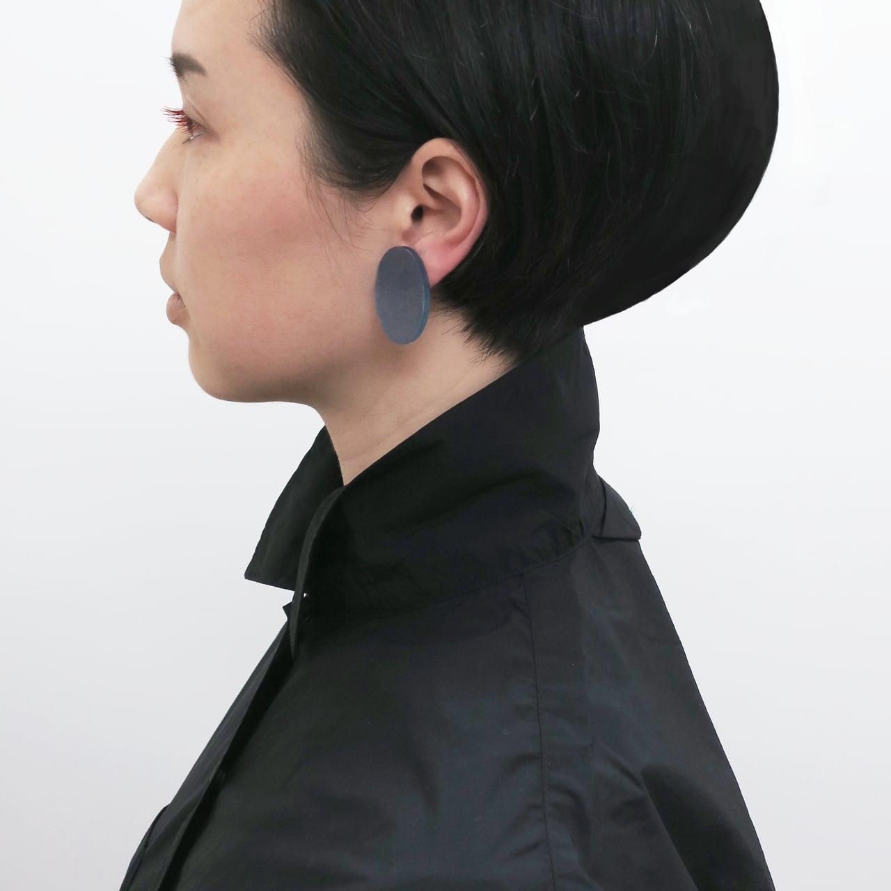 藍染/泥染/幾何学片耳用ピアスイヤリング/E-6_E_AI