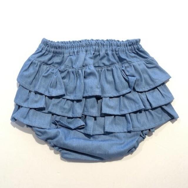 ミミプポン(mimi poupons) - フリルパンツ【デニムライトブルー】