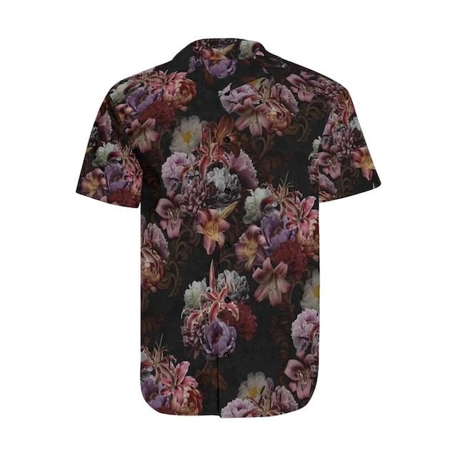 芍薬牡丹百合 黒 和柄アロハシャツ