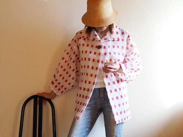 赤の絣プリントが可愛いドルーマンはおりジャケット-速乾!洗える浴衣から