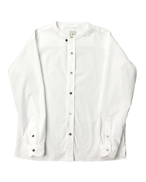PE BAND COLLAR SHIRT / PEバンドカラーシャツ (WHT)