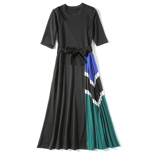 ウエストリボン プリーツ ドレス【R1131】