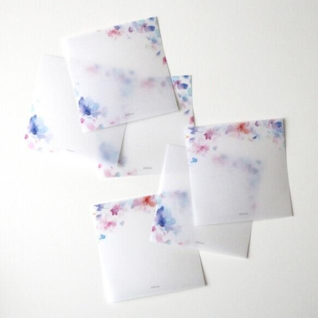 水彩花柄のトレーシングメッセージカード