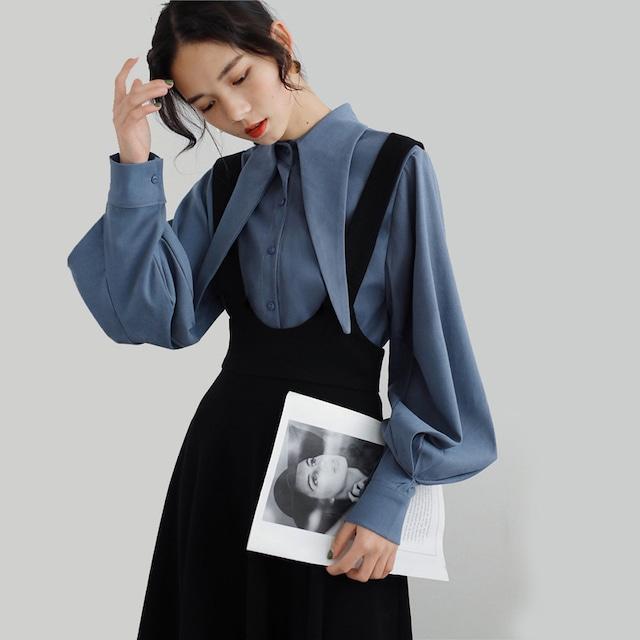 【歐妮の衣櫥シリーズ】★セットアップ★ 2点 シャツ+吊りスカート ブルー ブラック 着痩せ ランタンスリーブ S M L XL