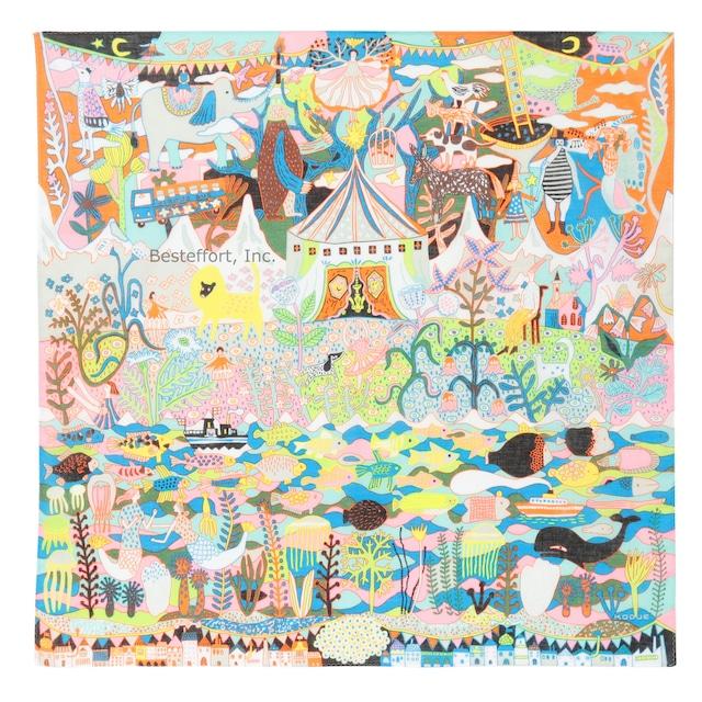 ひびのこづえ ハンカチ サーカス / オレンジ 大判 10色刷り 58x58cm KH21-03