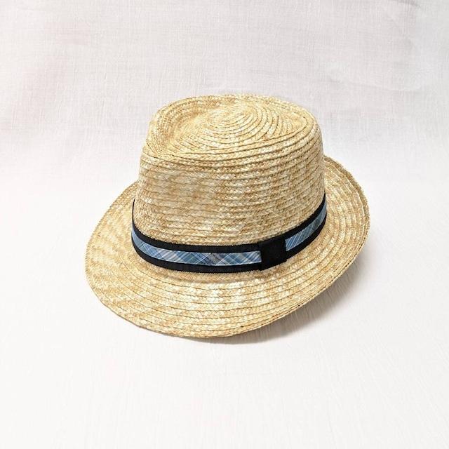 【帽子】中折れ麦わらHat 爽やかblue