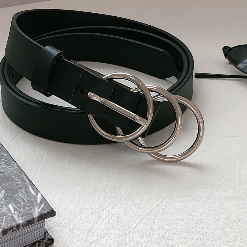 Round buckle leather belt   b-448