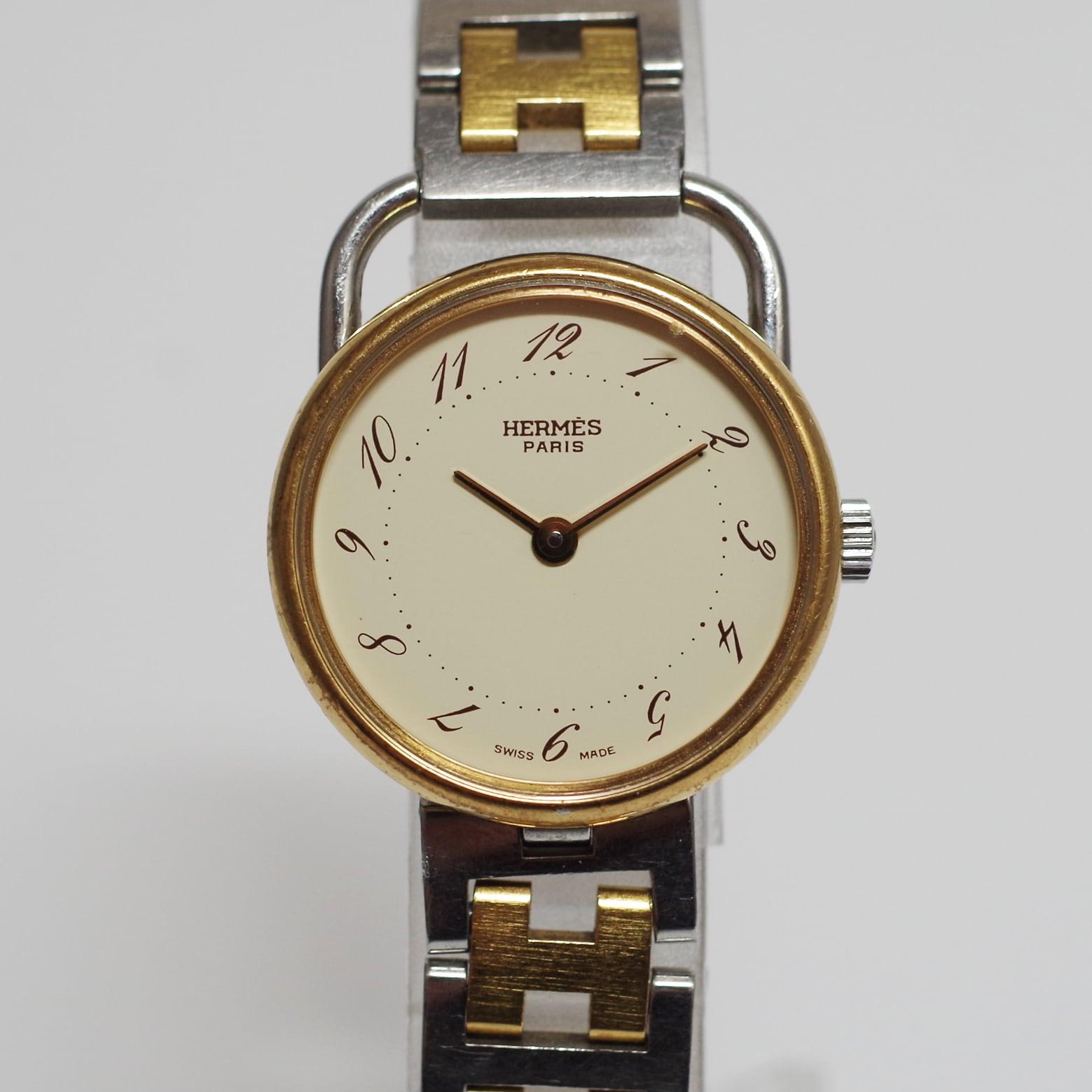 HERMES エルメス アルソー アイボリー文字盤 クォーツ SS コンビ 腕時計 レディース