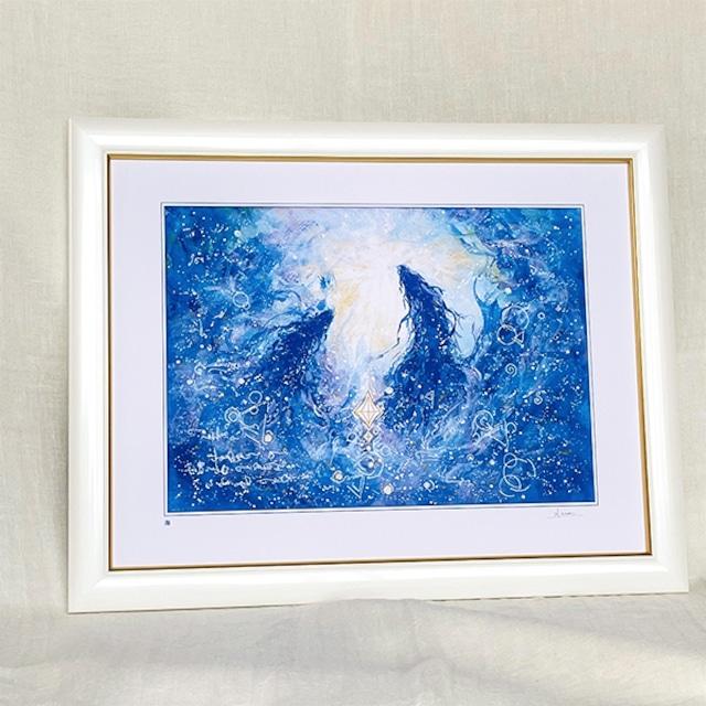 昇り龍、龍神の絵 龍神様の絵画 『海』太子額付きジクレーアート