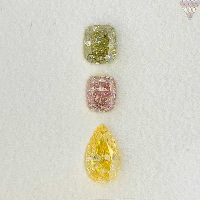 合計  0.78 ct 天然 カラー ダイヤモンド 3 ピース GIA  2 点 付 マルチスタイル / カラー FANCY DIAMOND 【DEF GIA MULTI】