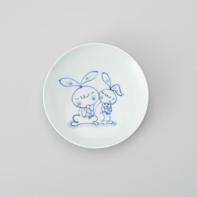 """【青花Kids】""""どうぶつ"""" 丸銘々皿(花うさぎ)"""