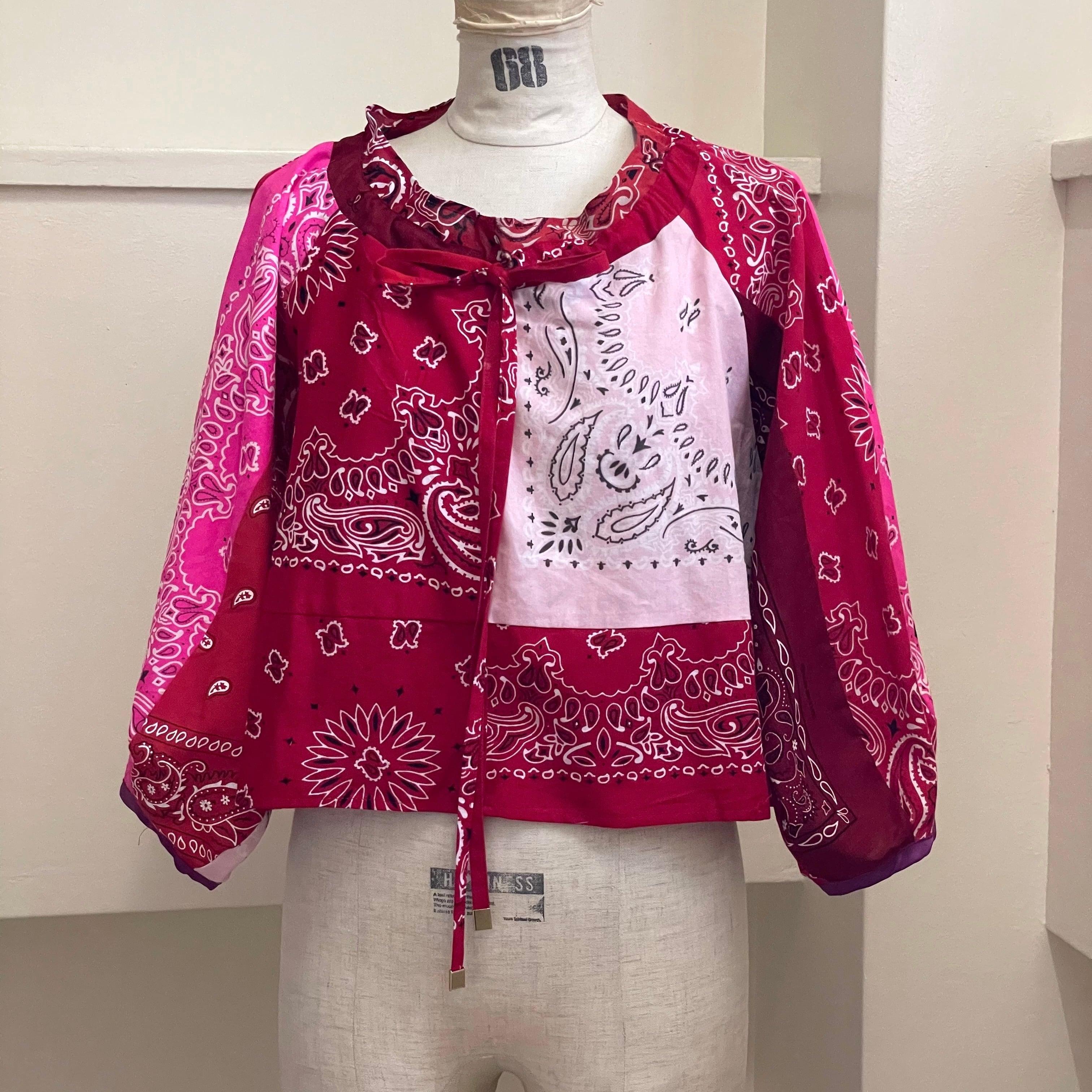 【RehersalL】bandanna tyrole blouse(red B) /【リハーズオール】バンダナチロリブラウス(レッドB)