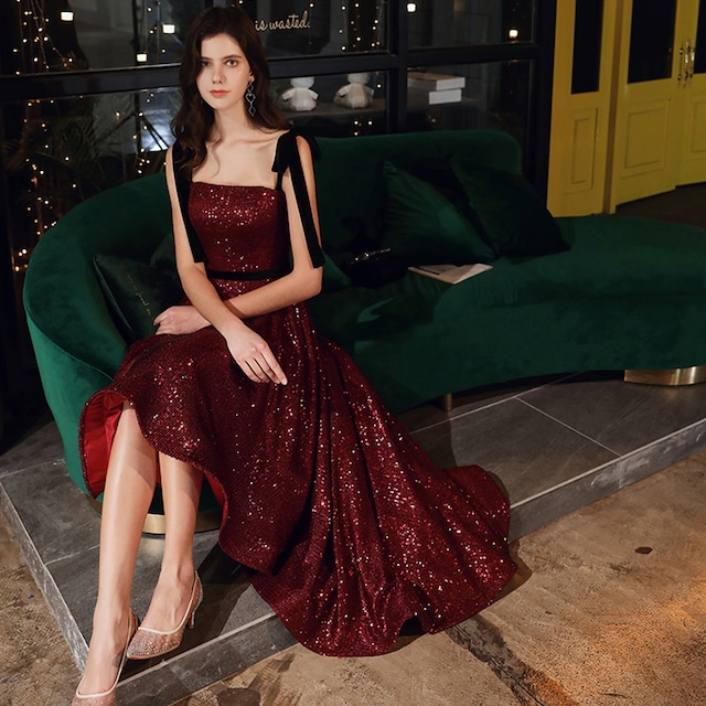 パーティードレス ロングドレス 成人式 演奏会 発表会 結婚式 二次会 プレゼント XS S M L LL 3L 気質良い レトロ 着痩せ エレガント スパンコール ノースリーブ  ジャンパースカート レッド 赤い 編み上げスタイル