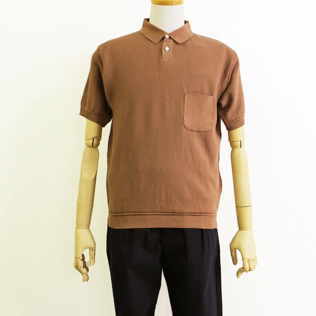 COMM.ARCH  コム・アーチ  KNITTED POLO IN MOSS STITCH  ニットポロ   -BURNT  PEACH-