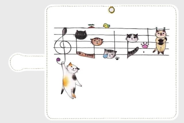 【特価!】(Android Mサイズ用)楽譜ネコの手帳型スマホケース