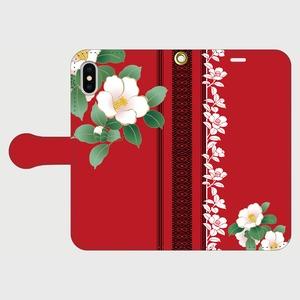 博多献上・Red椿ロマンiPhone専用・手帳型