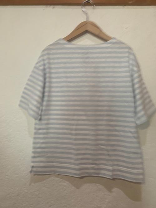 Chloro sister/toujours/ボーダーボートネックTシャツ オフxサックス
