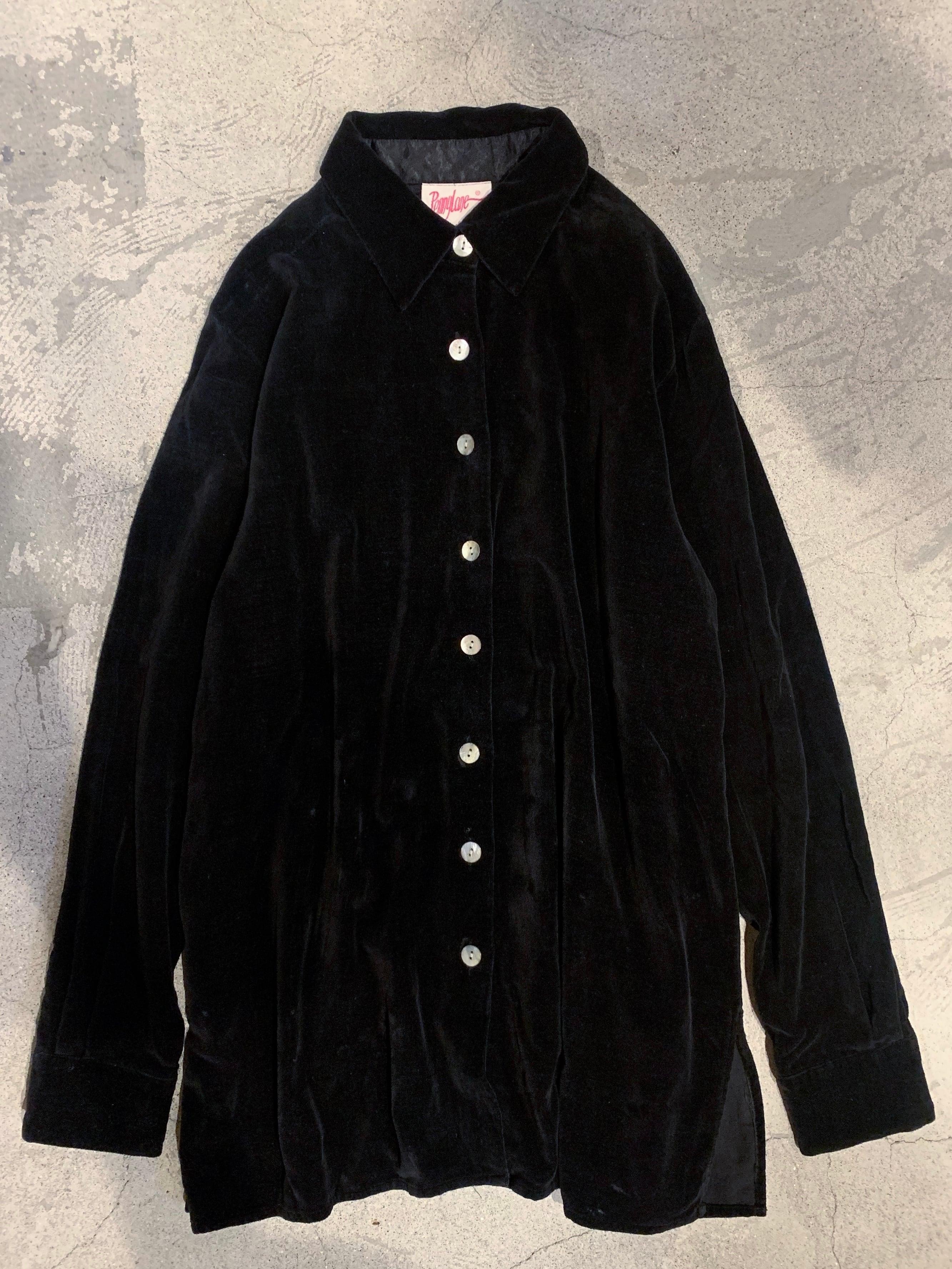 vintage velor shirt / black