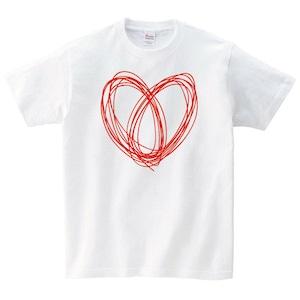 ハート Tシャツ メンズ レディース 半袖 かわいい ゆったり おしゃれ トップス 白 30代 40代 ペアルック プレゼント 大きいサイズ 綿100% 160 S M L XL