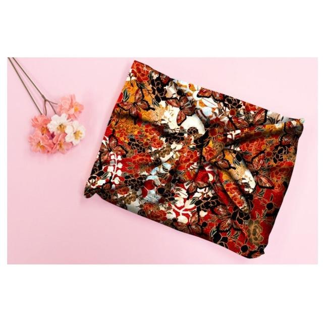 和柄牡丹と蝶ブラック 華蝶風呂敷スカーフ