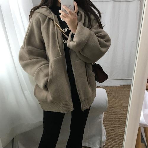 フード付 カーディガン APRICOT アプリコット 韓国ファッション レディース ニット アウター ジャケット 袖ボリューム パフ袖 長袖 DTC-602105464098