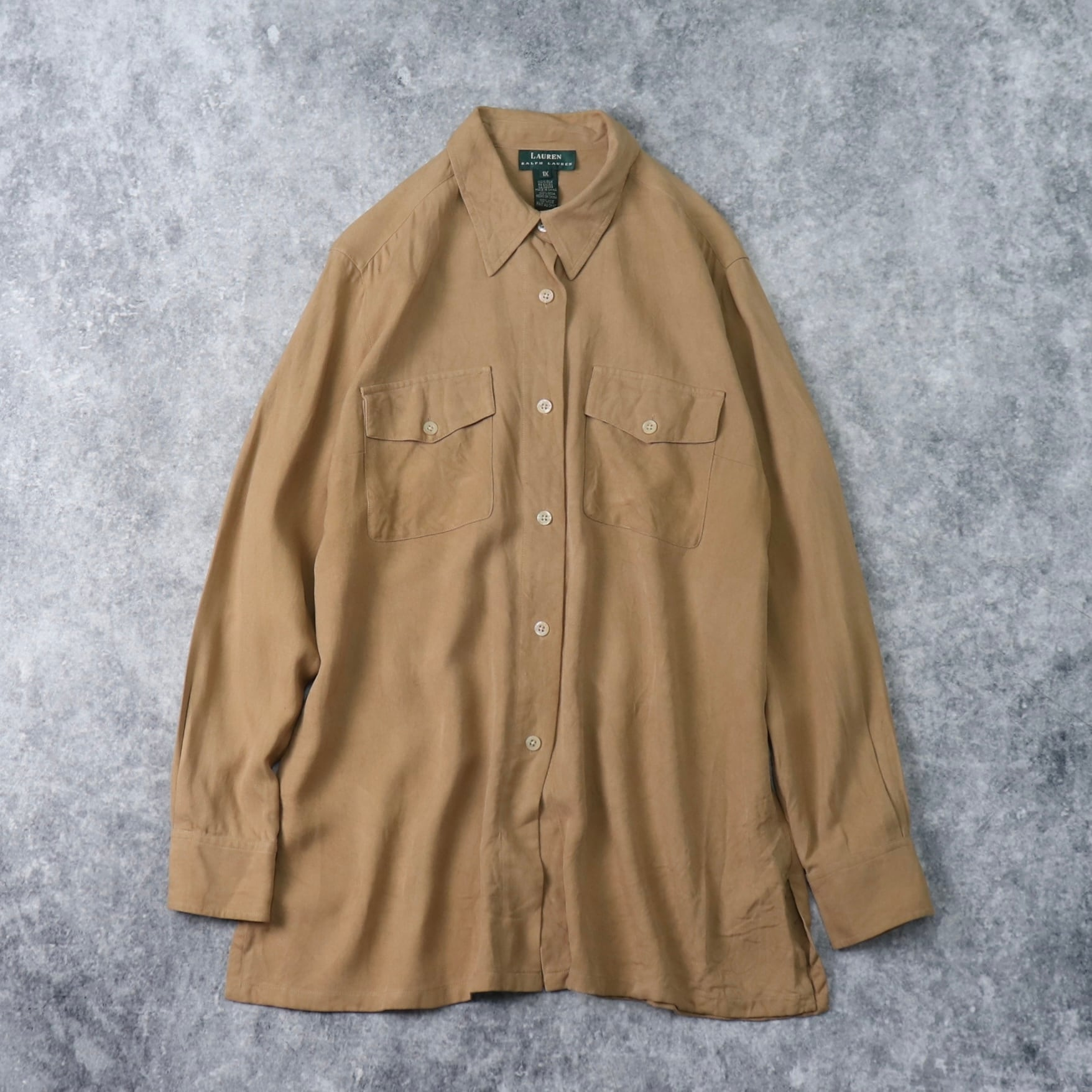 """1990s   """" RALPH LAUREN """" L/S   SILK   Shirts   XL A277"""